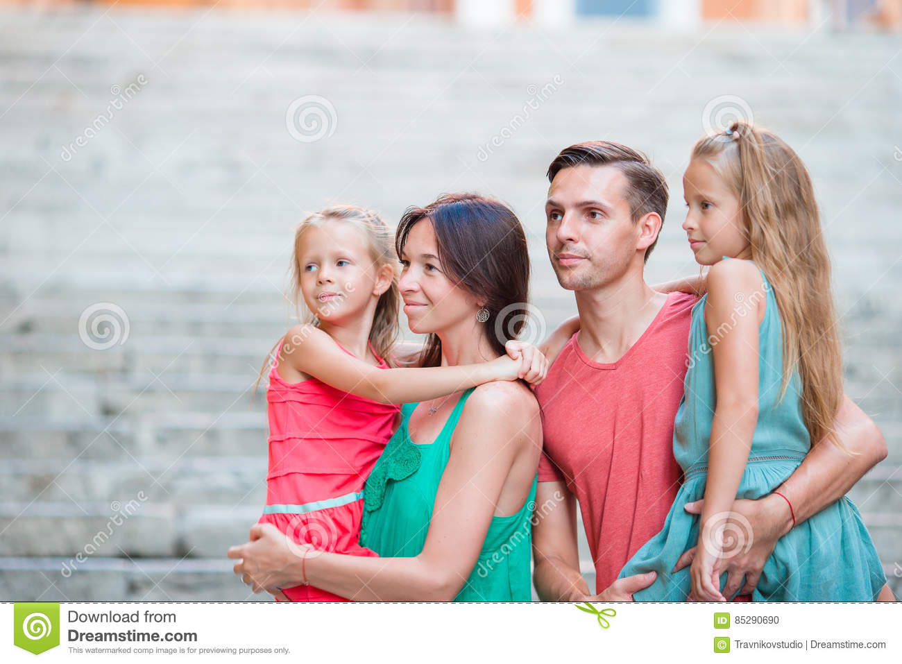 Download Family Vacation In Europe Portrait Of Four Rome Stock Photo