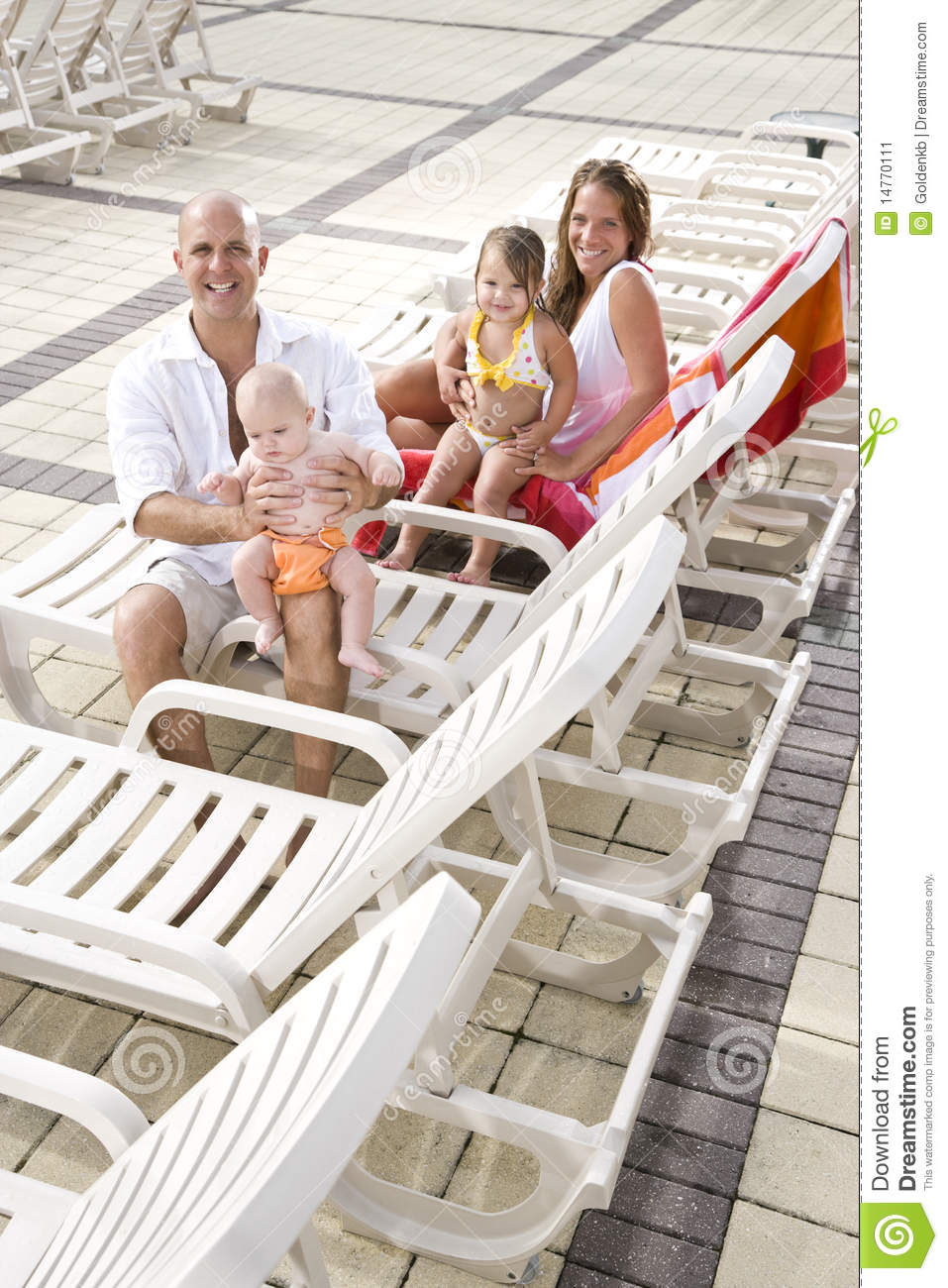 family vacation relax on pool deck lounge chairs stock image image 14770111. Black Bedroom Furniture Sets. Home Design Ideas