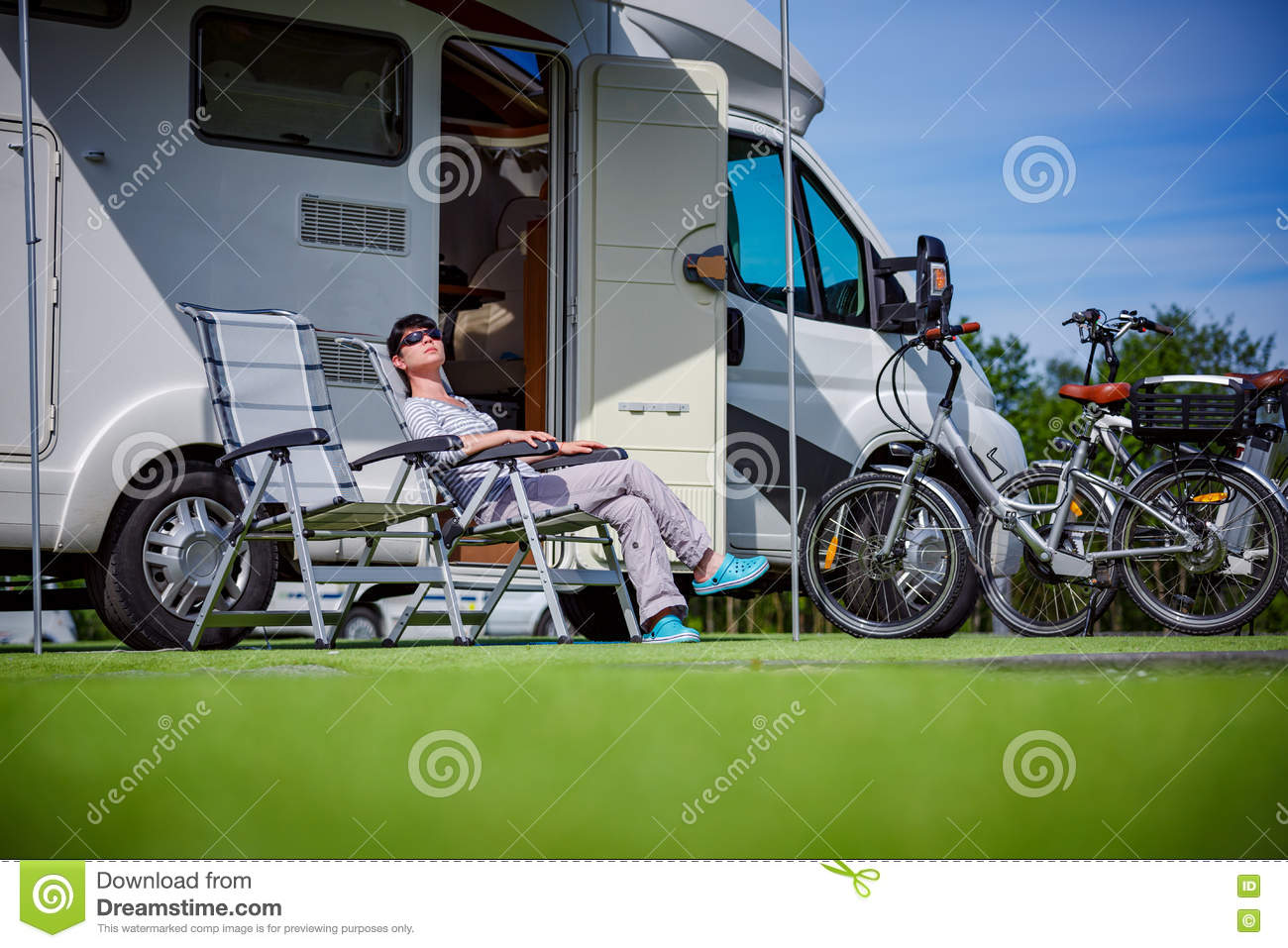 Family Vacation Travel, Holiday Trip In Motorhome Stock