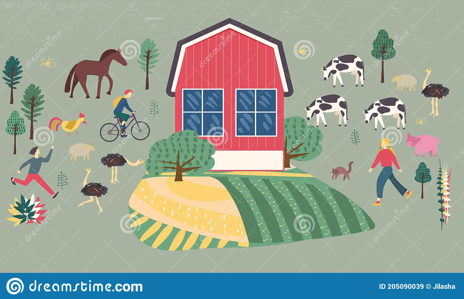 Family Vacations Farm Farmhouse Rural Landscape Animals Cow Pig Sheep Horse Rooster Chicken Hen Ostrich Stock Vector Illustration Of Landscape Countryside 205090039