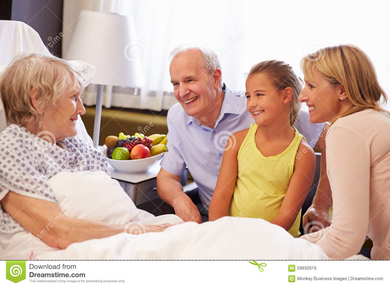 Person in hospital bed with family