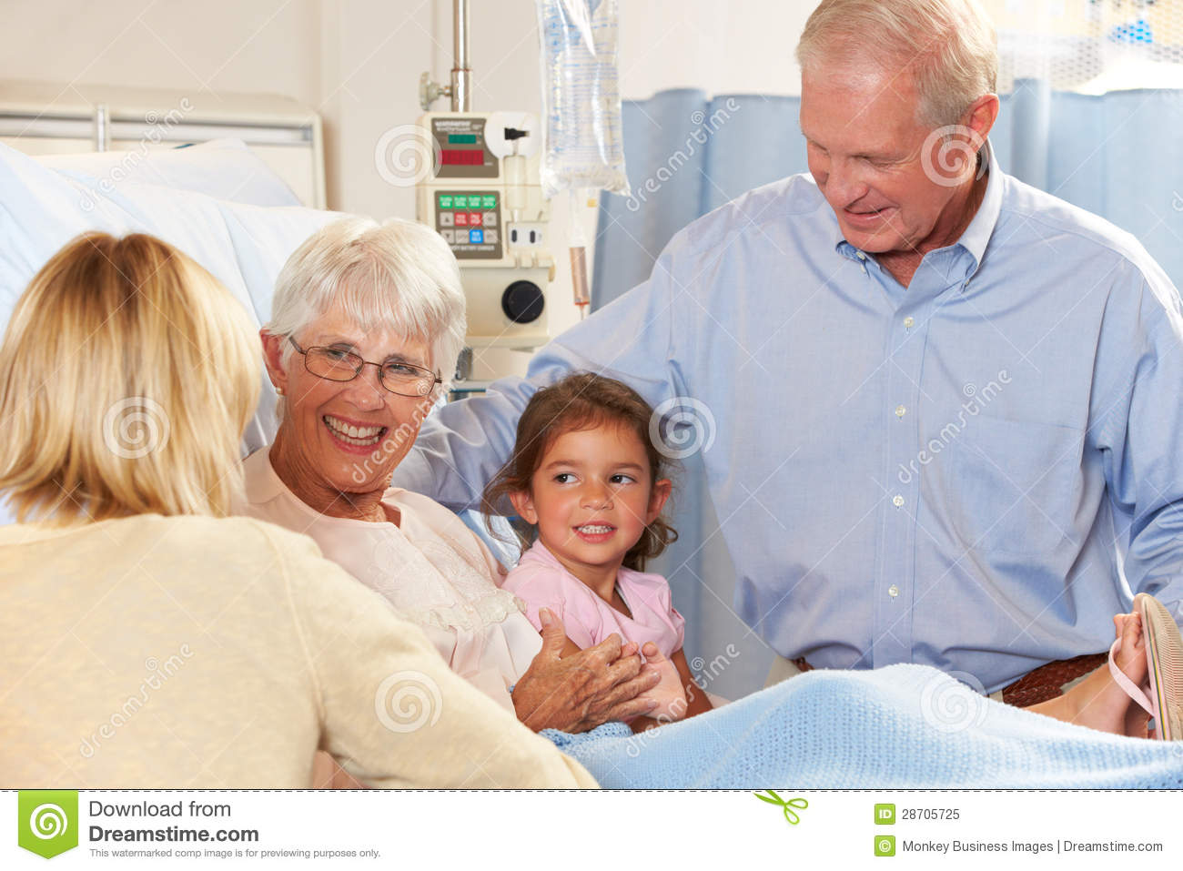 Family Visiting Senior Female Patient In Hospital Bed