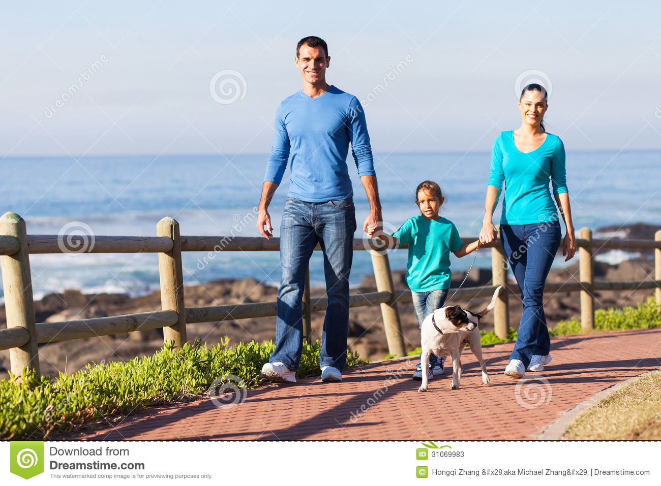 Family Walking Dog Stock Image Of Father Leisure