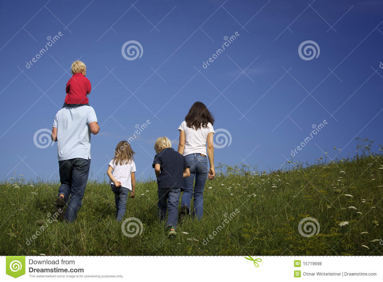 family walking in meadow  view from behind  royalty free