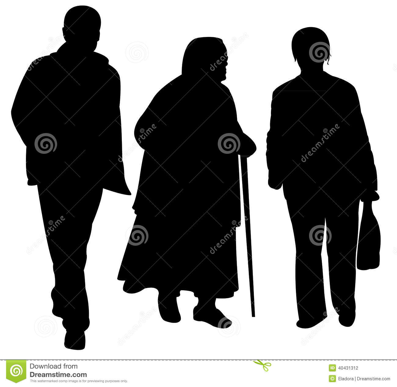 Family walking silhouette vectorFamily Walking Silhouette
