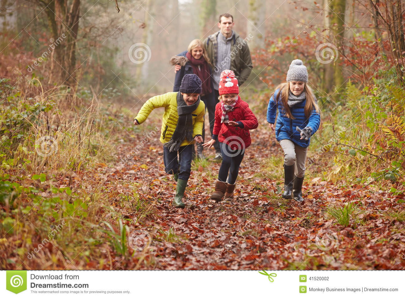 Download Family Walking Through Winter Woodland Stock Photo - Image of outdoors, father: 41520002