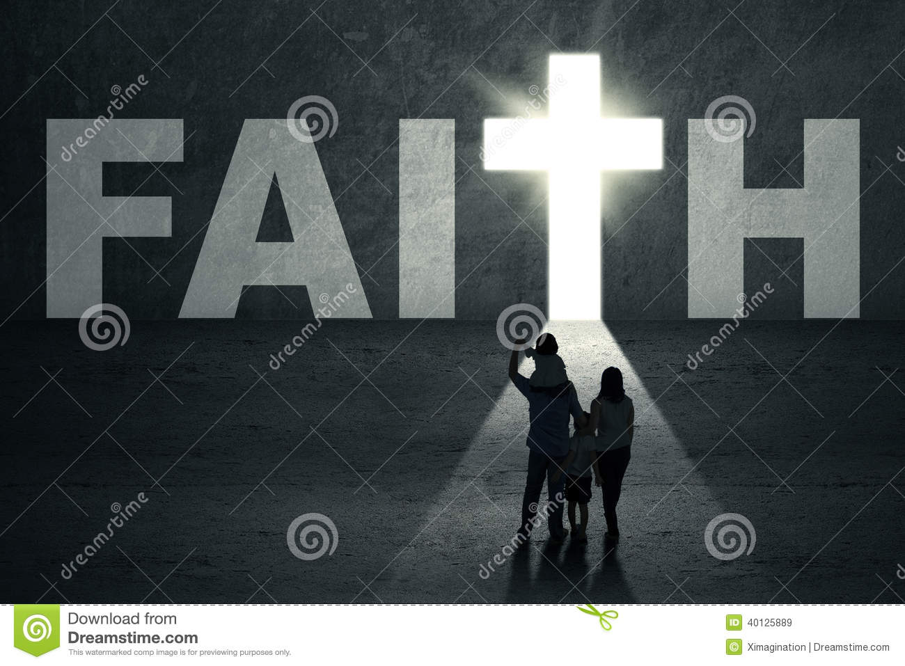 Family Walks Toward Faith Door Stock Image Image Of