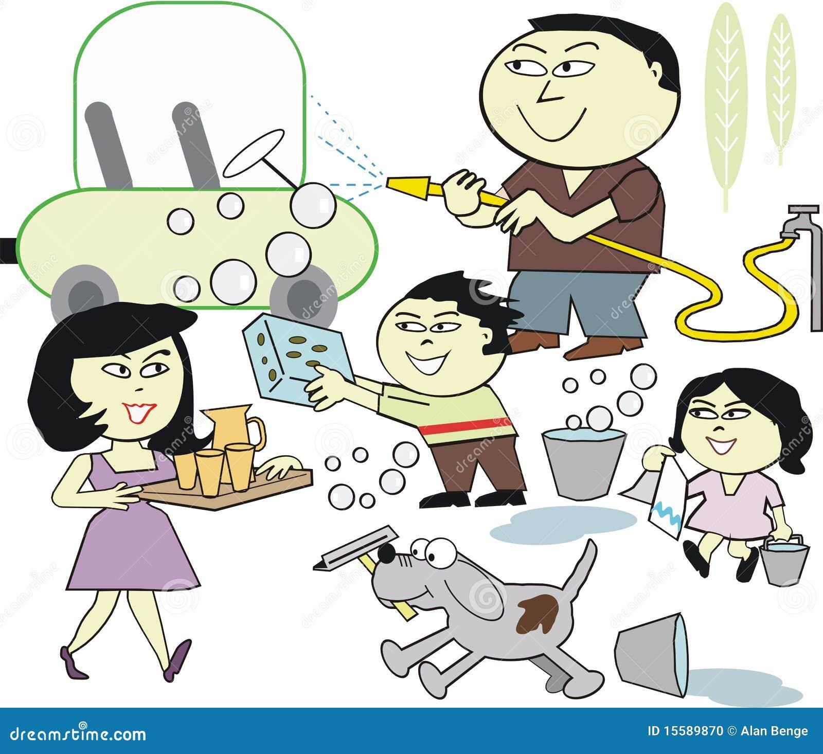 Family Washing Car Cartoon Stock Photo Image 15589870