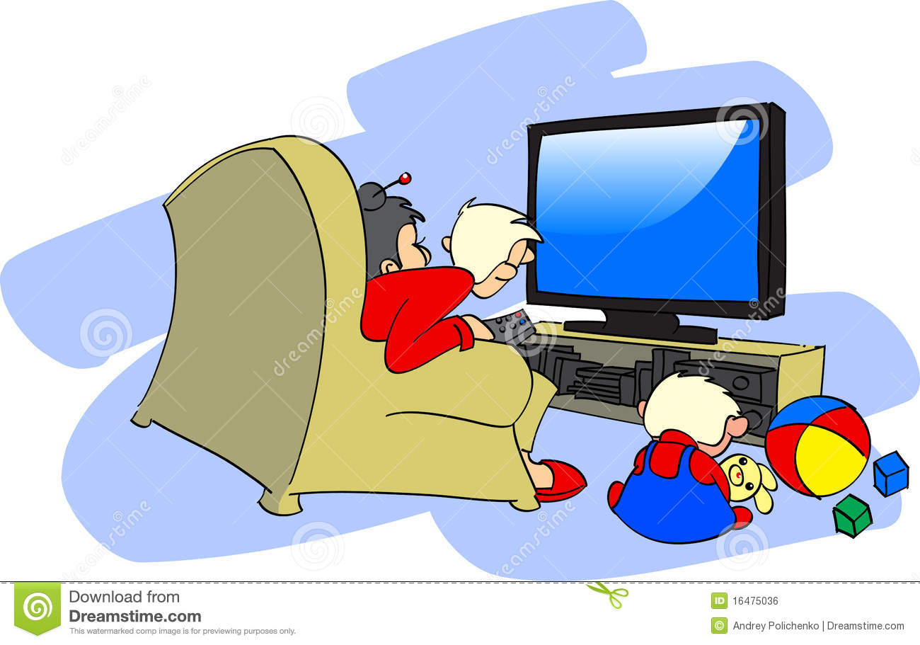 Family watching the big TV To Watch Tv Clipart