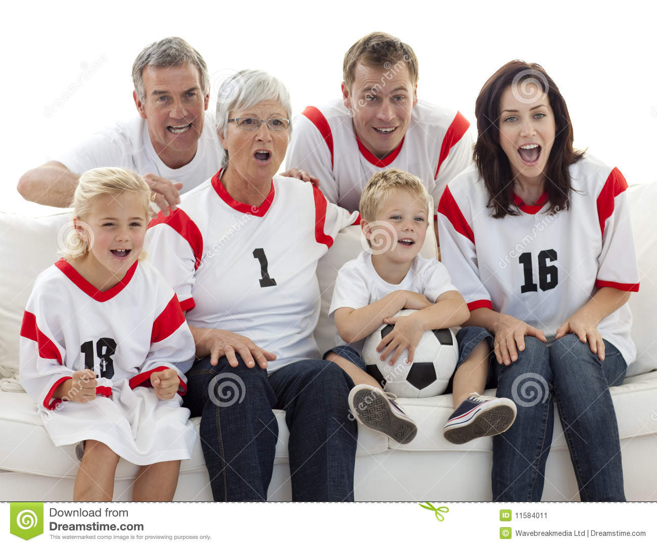 Family Watching A Football Match In Television Stock Image ...