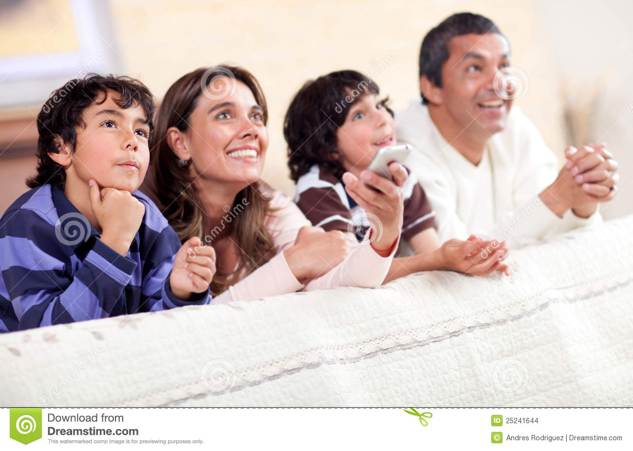 Family Watching Tv Stock Photo Image Of Happy Males