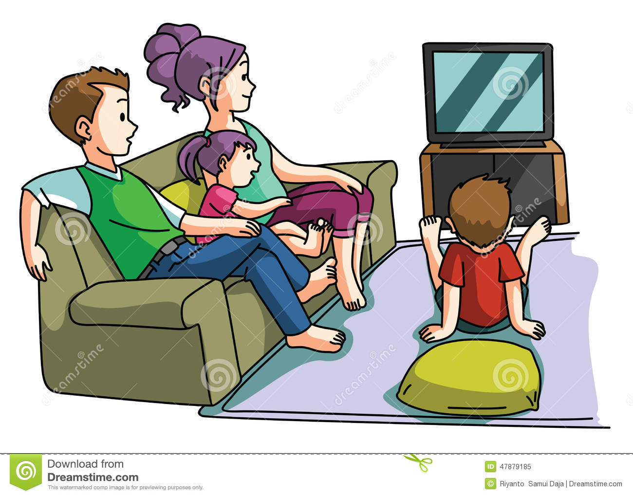 Family Watching Tv Time Stock Vector Image 47879185