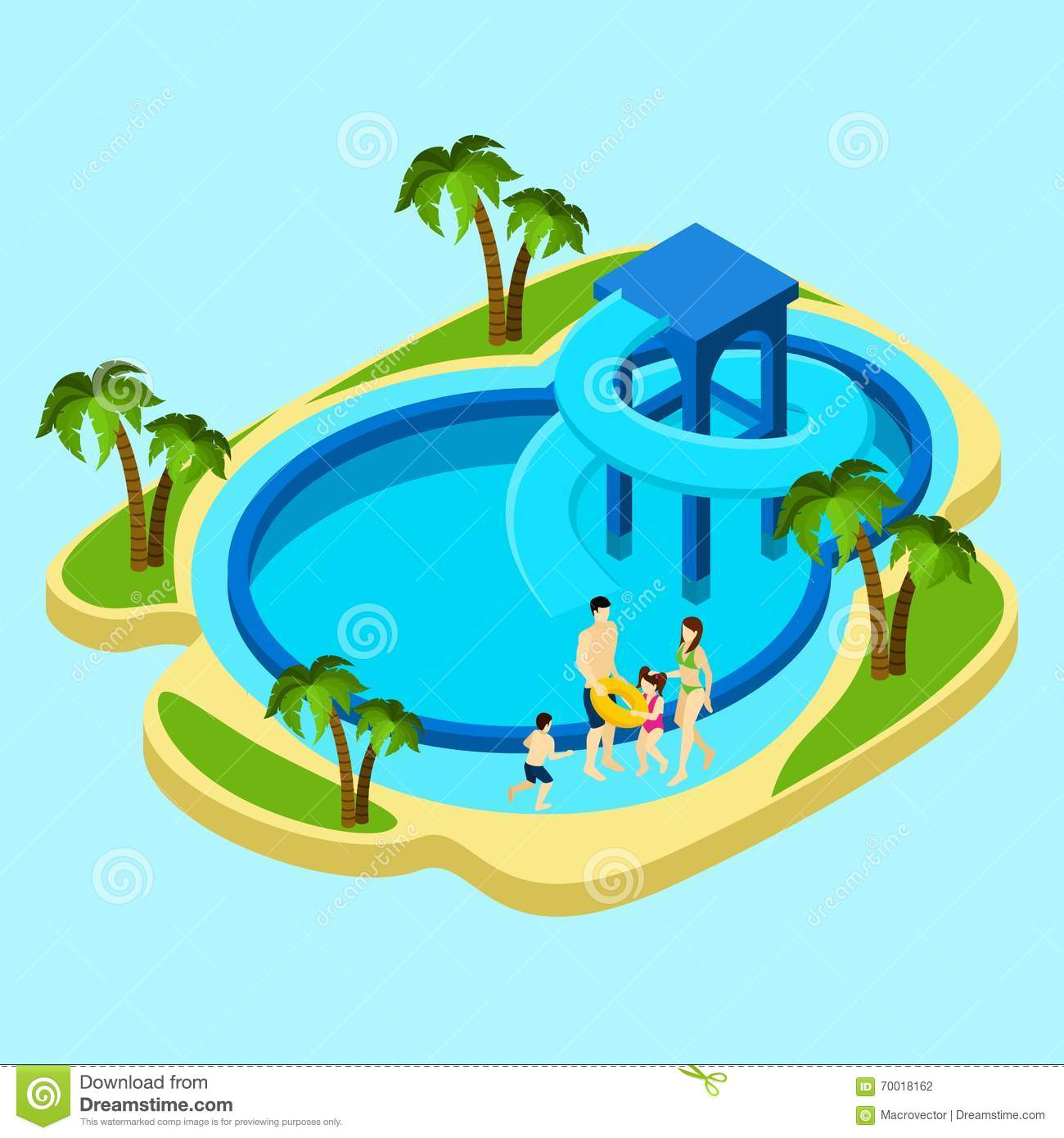Family At Water Park Illustration Stock Vector ...
