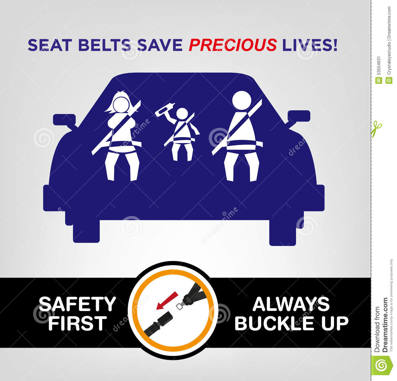 ... While On The Car. Road Safety Concept Stock Vector - Image: 53554631