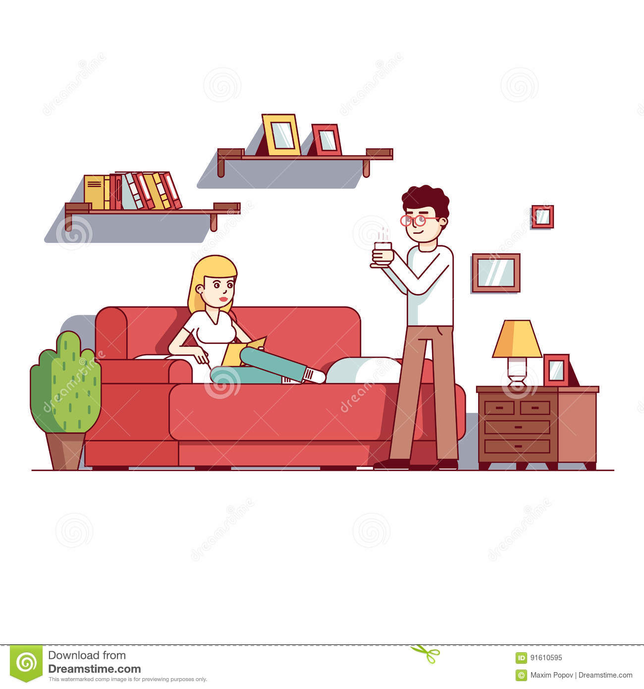 Family Wife And Husband Relax In Home Living Room