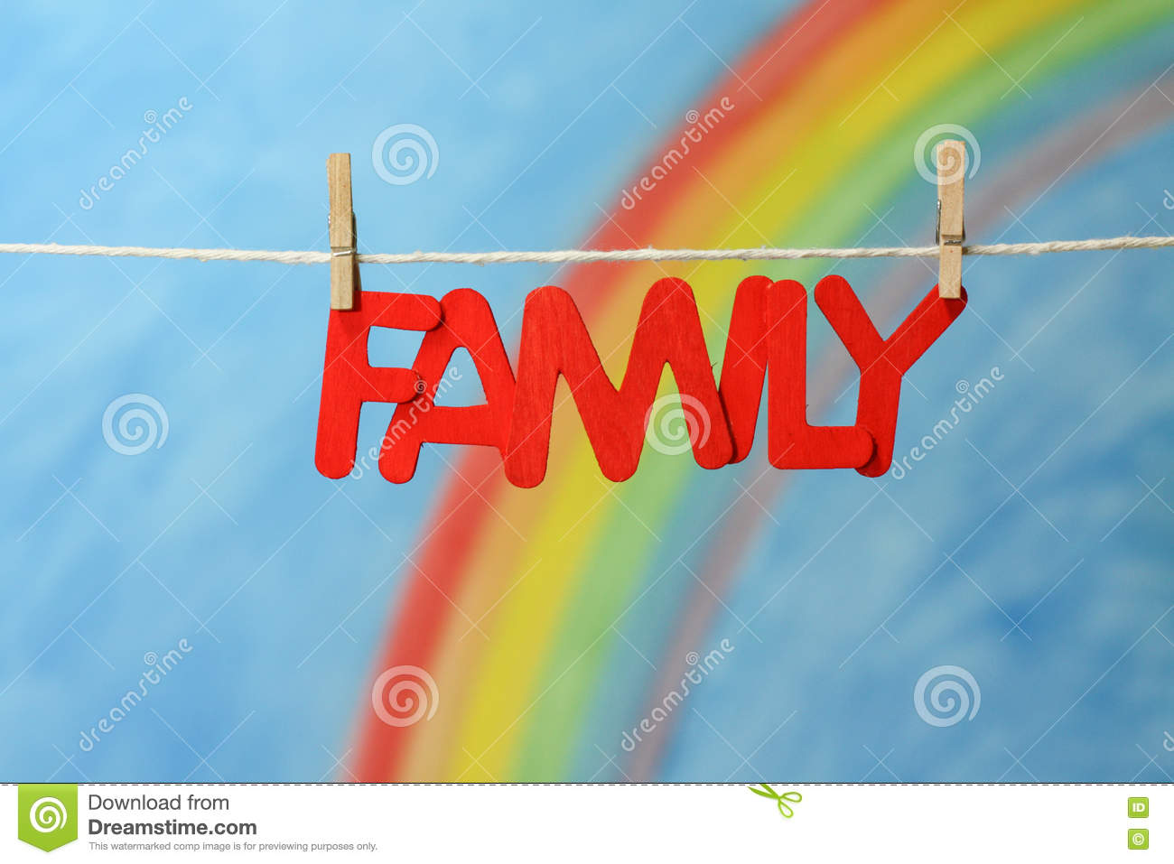 The Word Family With A Colorful Rainbow And Blue Sky Background ...
