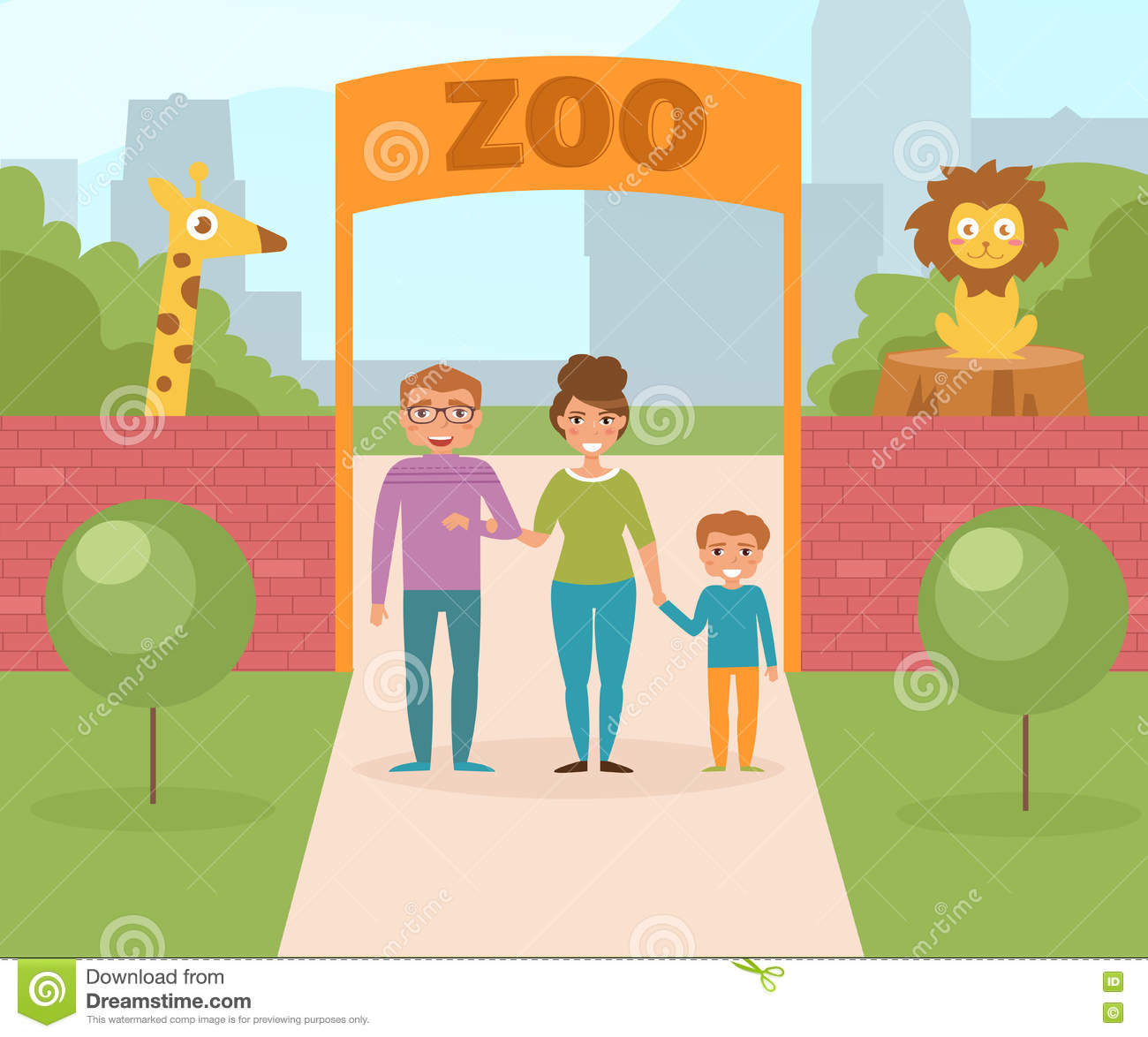 Family At The Zoo Gate Stock Vector Image 78198739