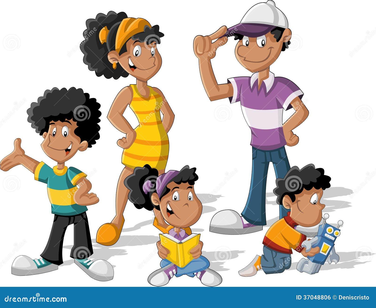 Crianças Que Jogam O Futebol Nos Desenhos Animados Do: Família Preta Dos Desenhos Animados Imagem De Stock