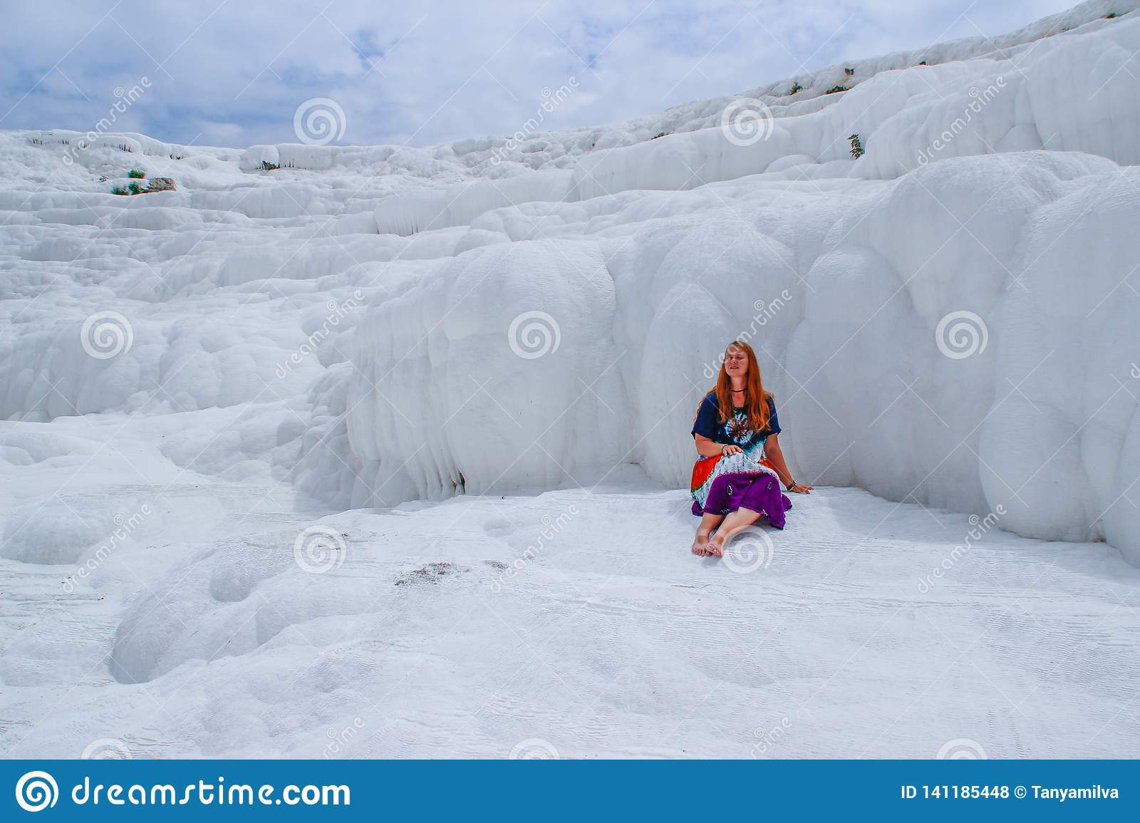 Famous and amazing thermal springs Pamukkale or Cotton Castle on Denizli Province in in Turkey