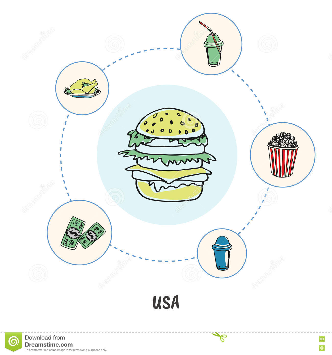 Famous American Symbols Doodle Vector Concept Stock Vector