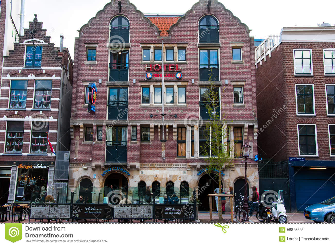 Famous Amsterdam Bulldog Coffeeshop And Hotel In Red Light District