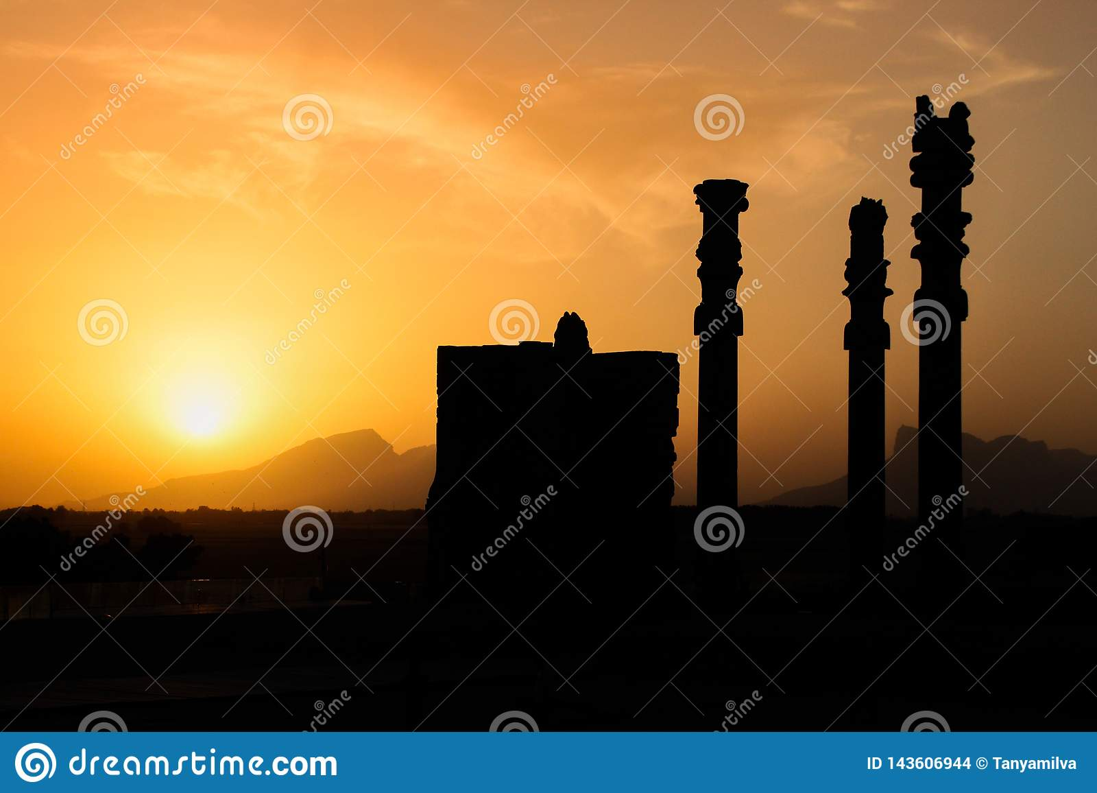 The famous ancient city of Persepolis in Iran Persia at sunset.