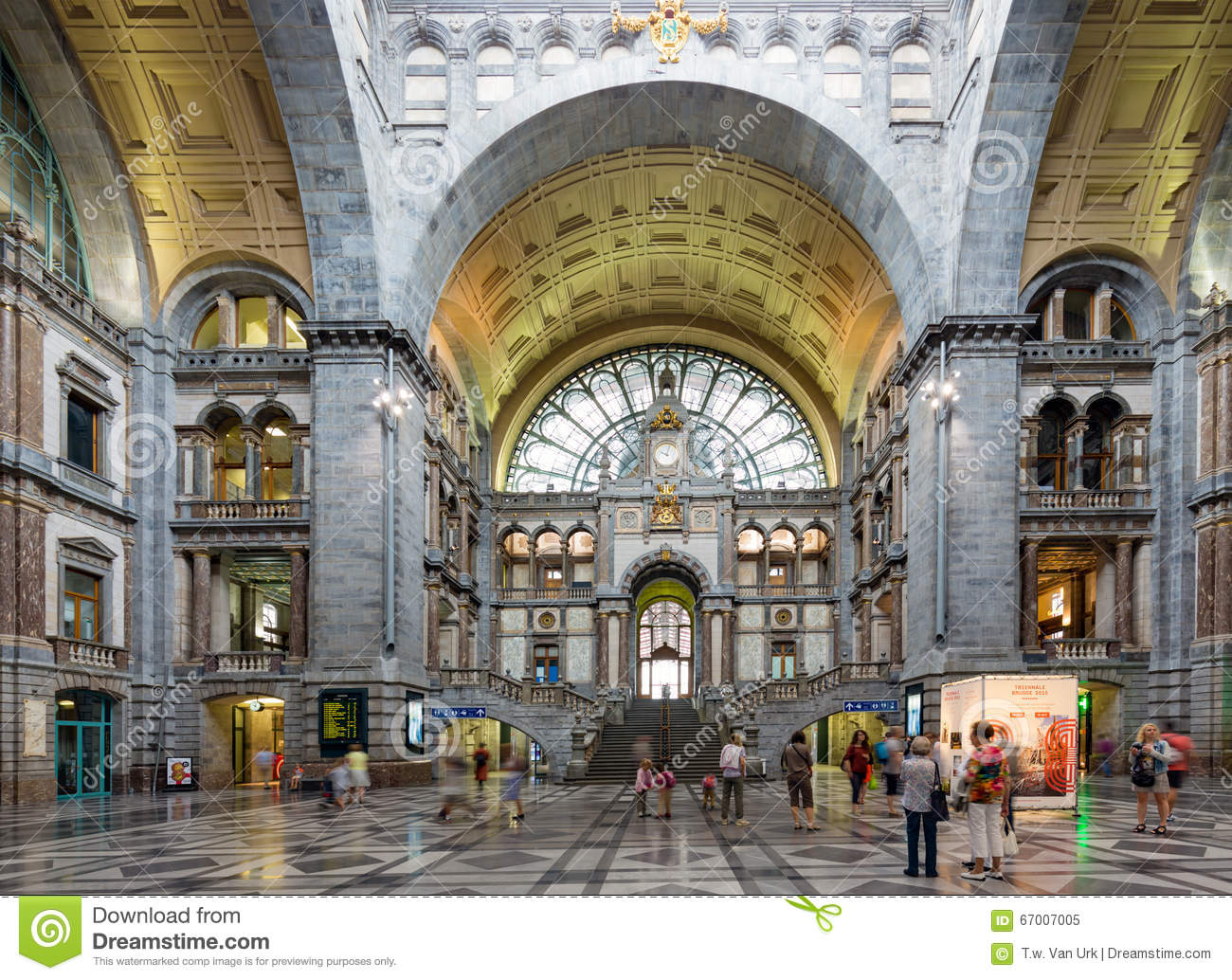 famous art deco interior antwerp main station belgium editorial