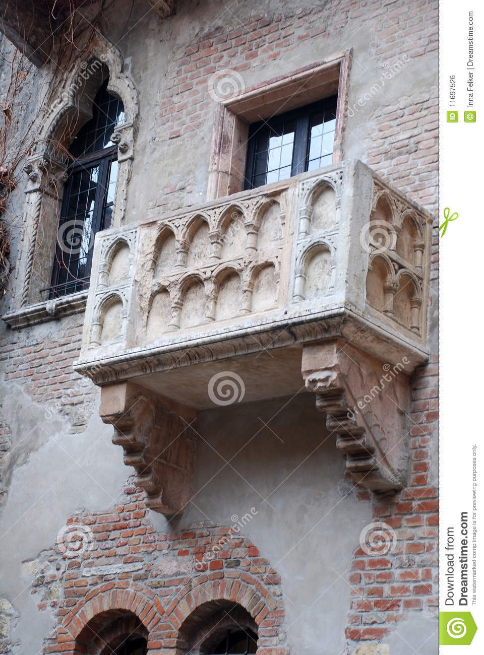 famous balcony of juliet royalty free stock image image