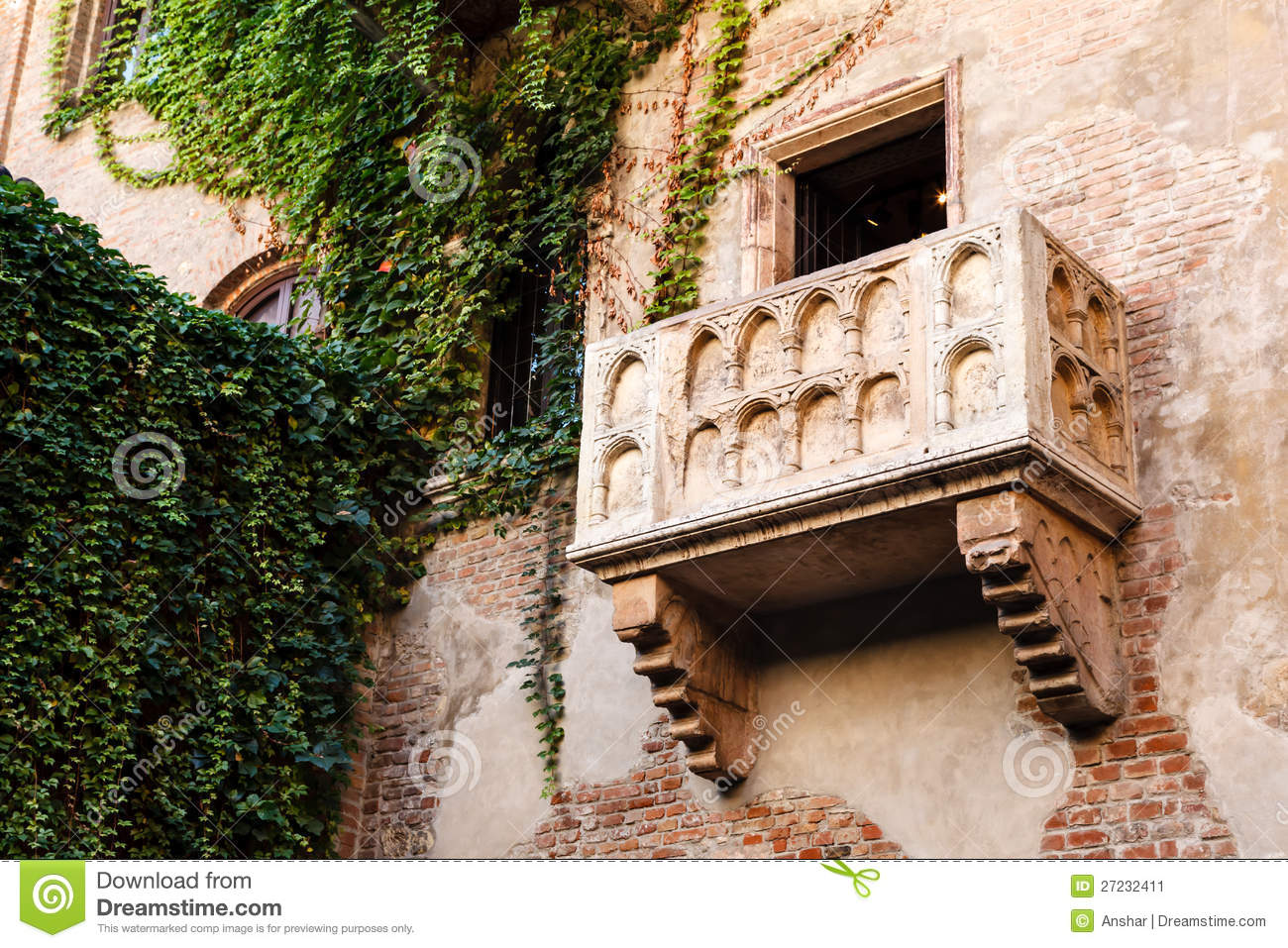 The famous balcony of juliet capulet home stock image for Famous balcony