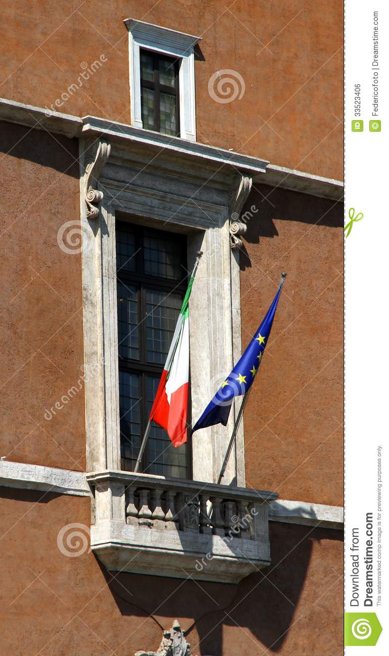 Famous balcony of piazza venezia in rome royalty free for Famous balcony