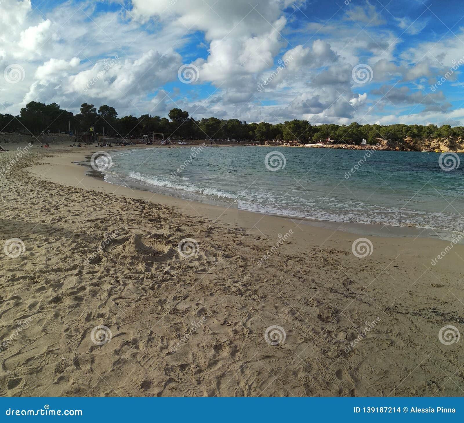 Famous Beach Of Cala Bassa In Ibiza, Pitiusa Island Of The