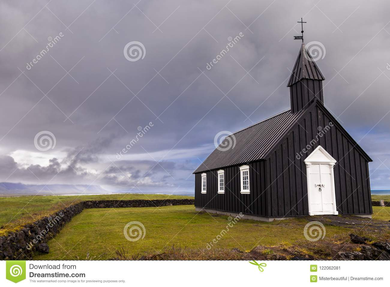 The famous black church of Budir in Iceland