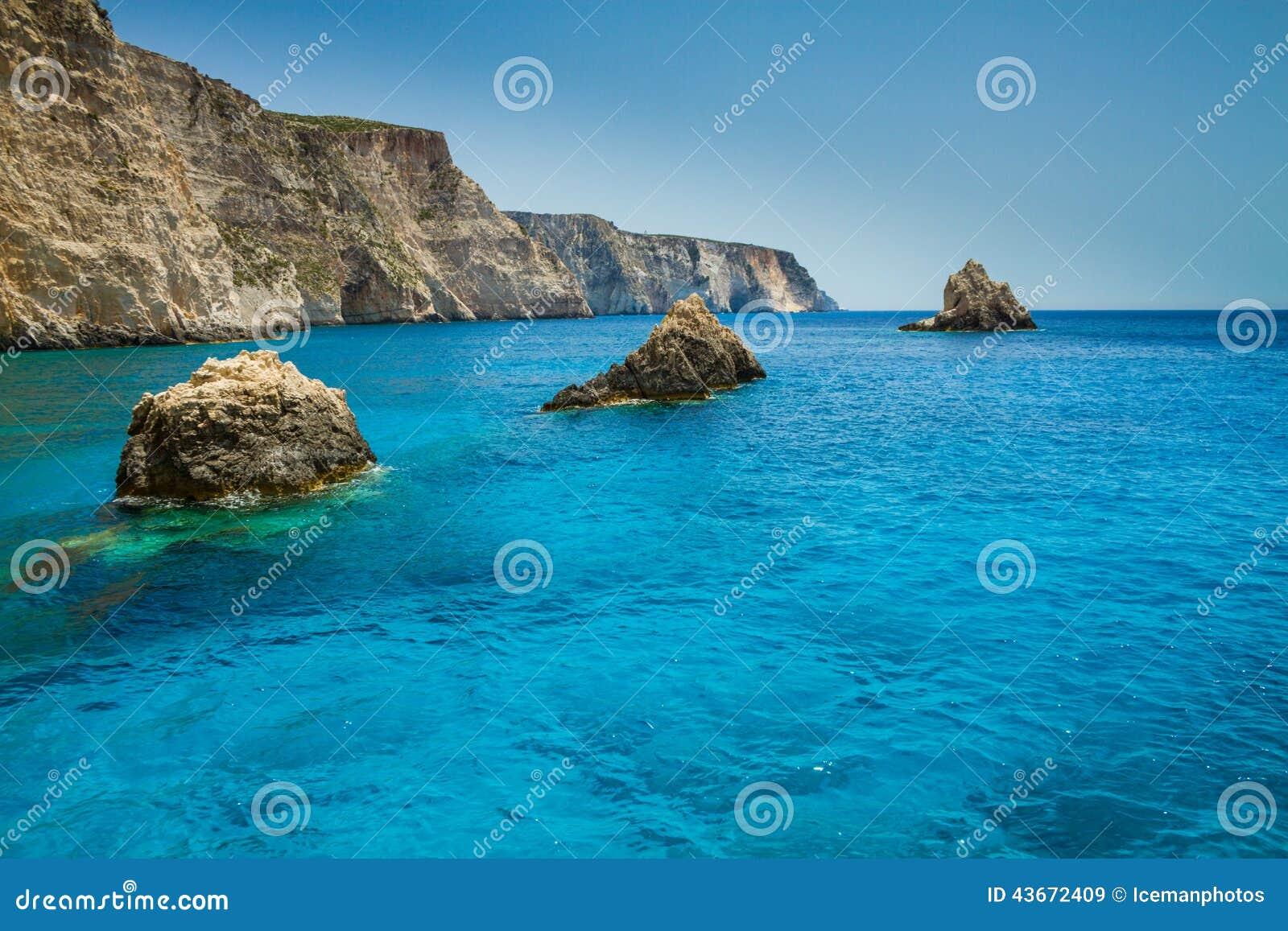 Famous blue caves view on Zakynthos island, Greece