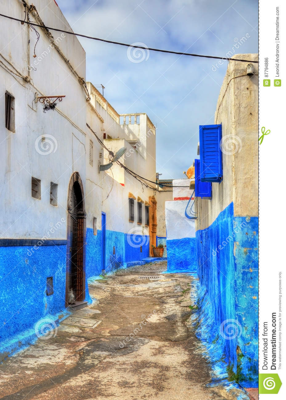 Famous Blue And White Houses In Kasbah Of The Udayas Rabat Morocco Stock Photo Image 87794886