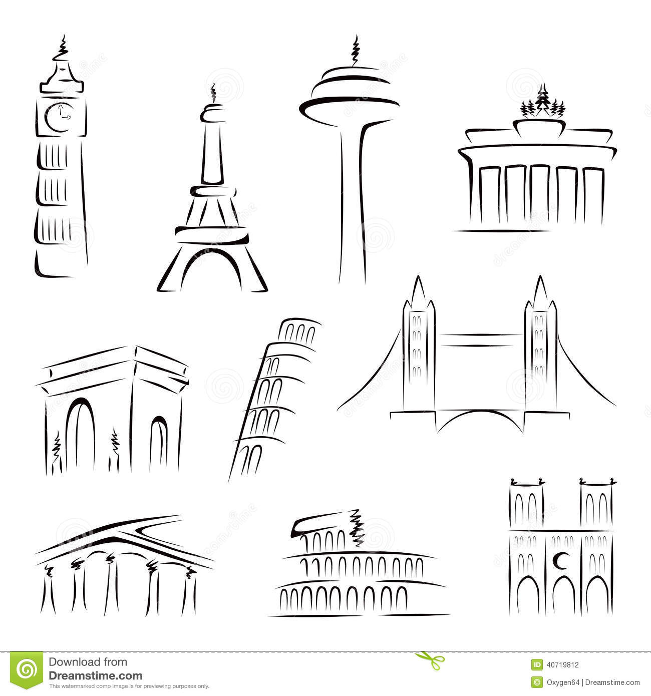 Famous Buildings Stock Vector Image 40719812