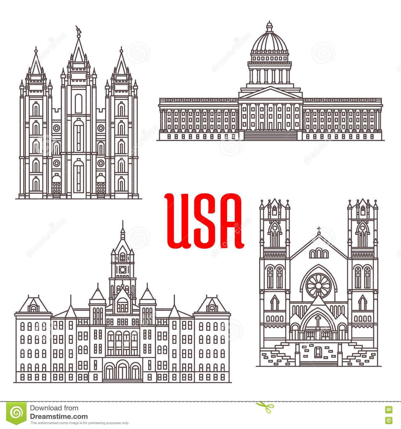 Famous Buildings Symbols And Icons Of Us Stock Vector Illustration