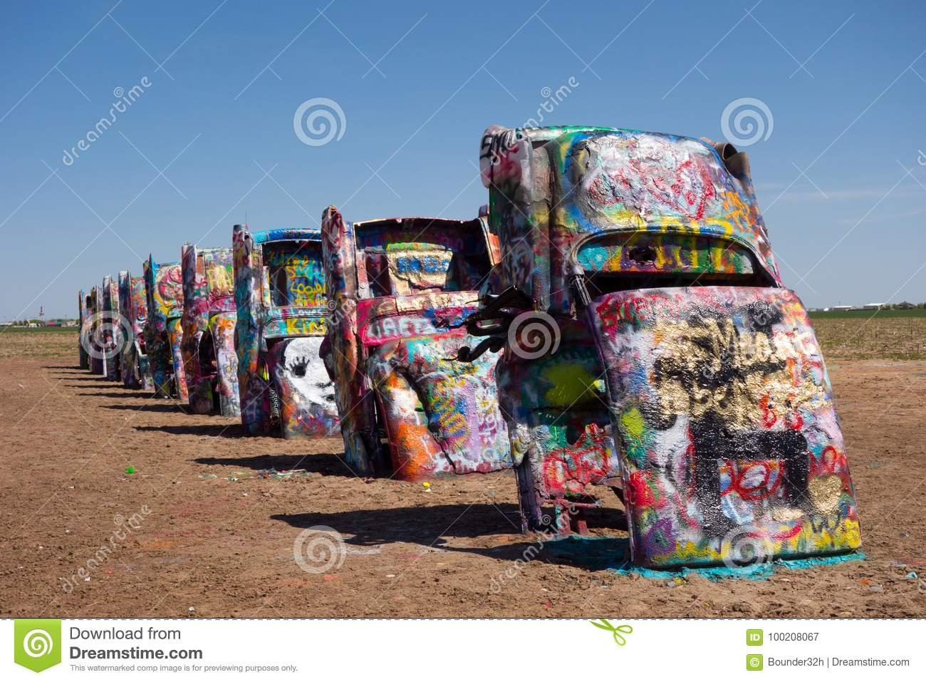 The Famous Cadillac Ranch Along Route 66 Editorial Photography