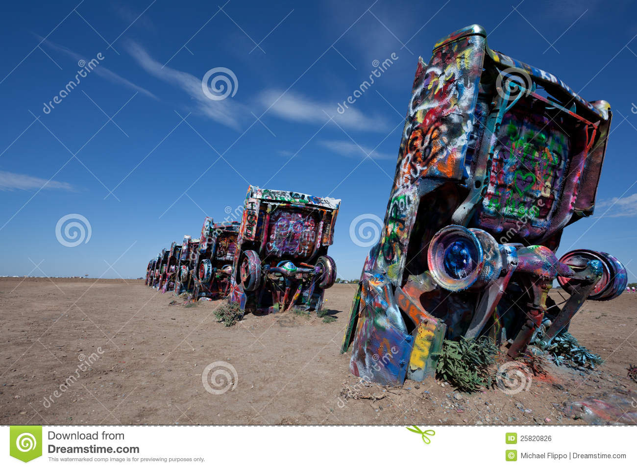 The Famous Cadillac Ranch Amarillo Texas Royalty Free