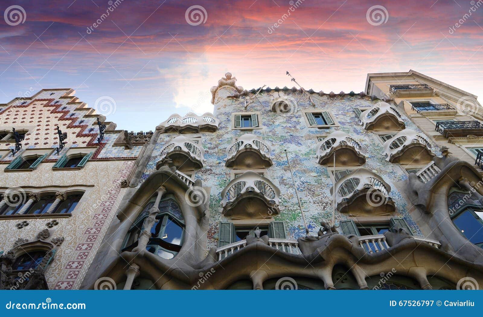 The famous casa Battlo building designed by Antonio Gaudi in Barcelona.