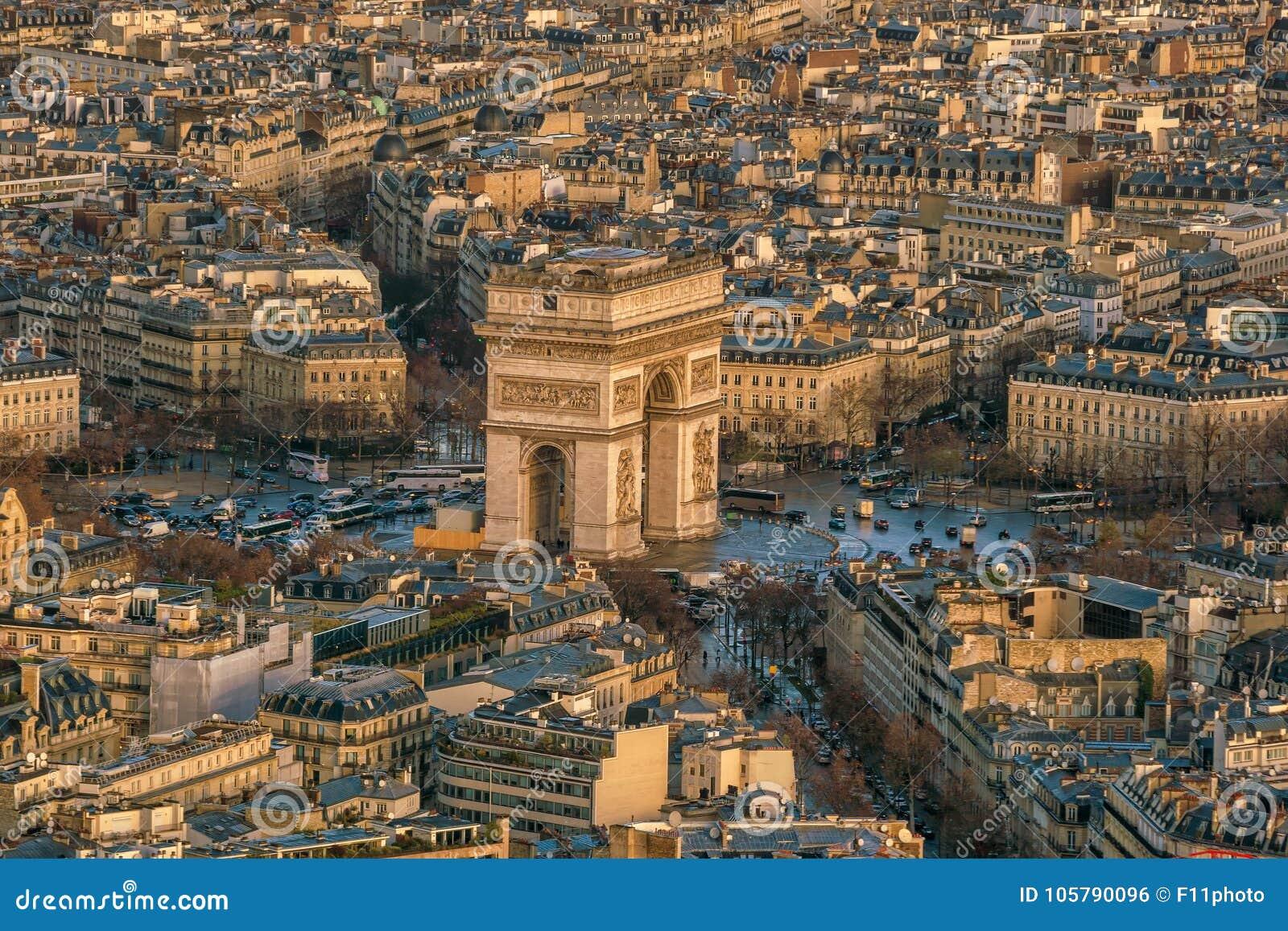 Famous Champs-Elysees And Arc De Triomphe In Paris Stock ...