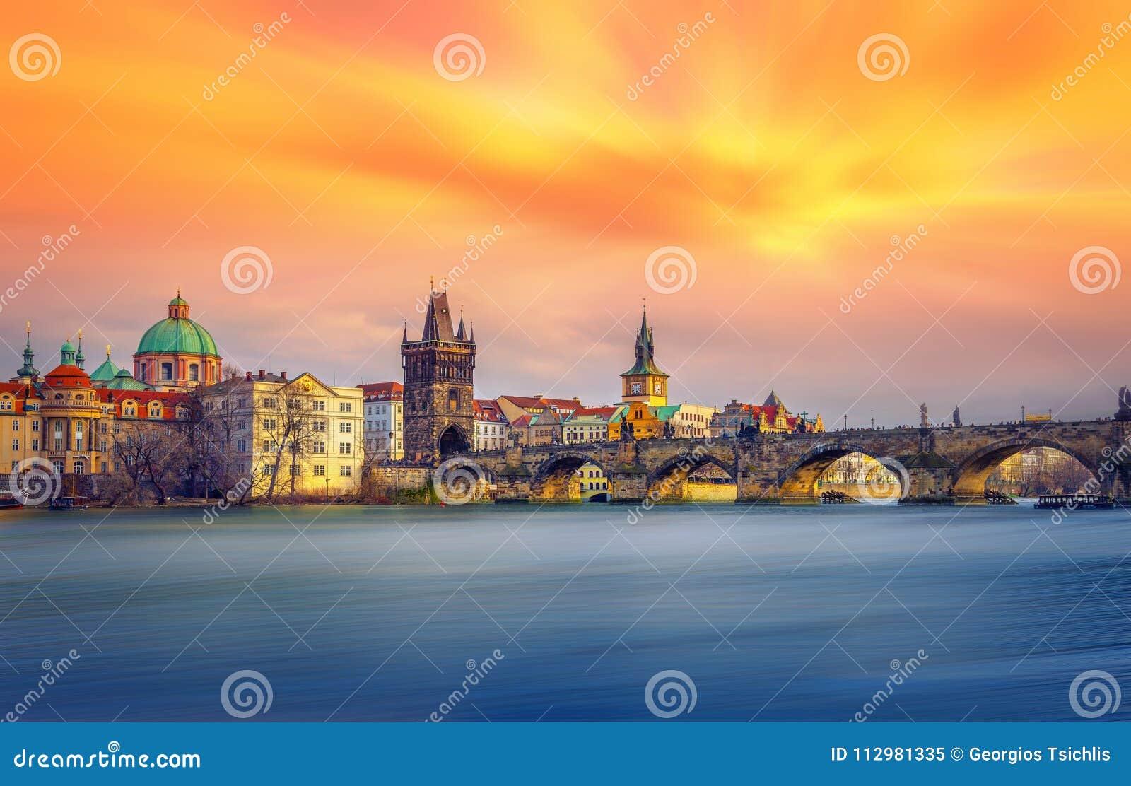 Famous Charles Bridge and tower, Prague.