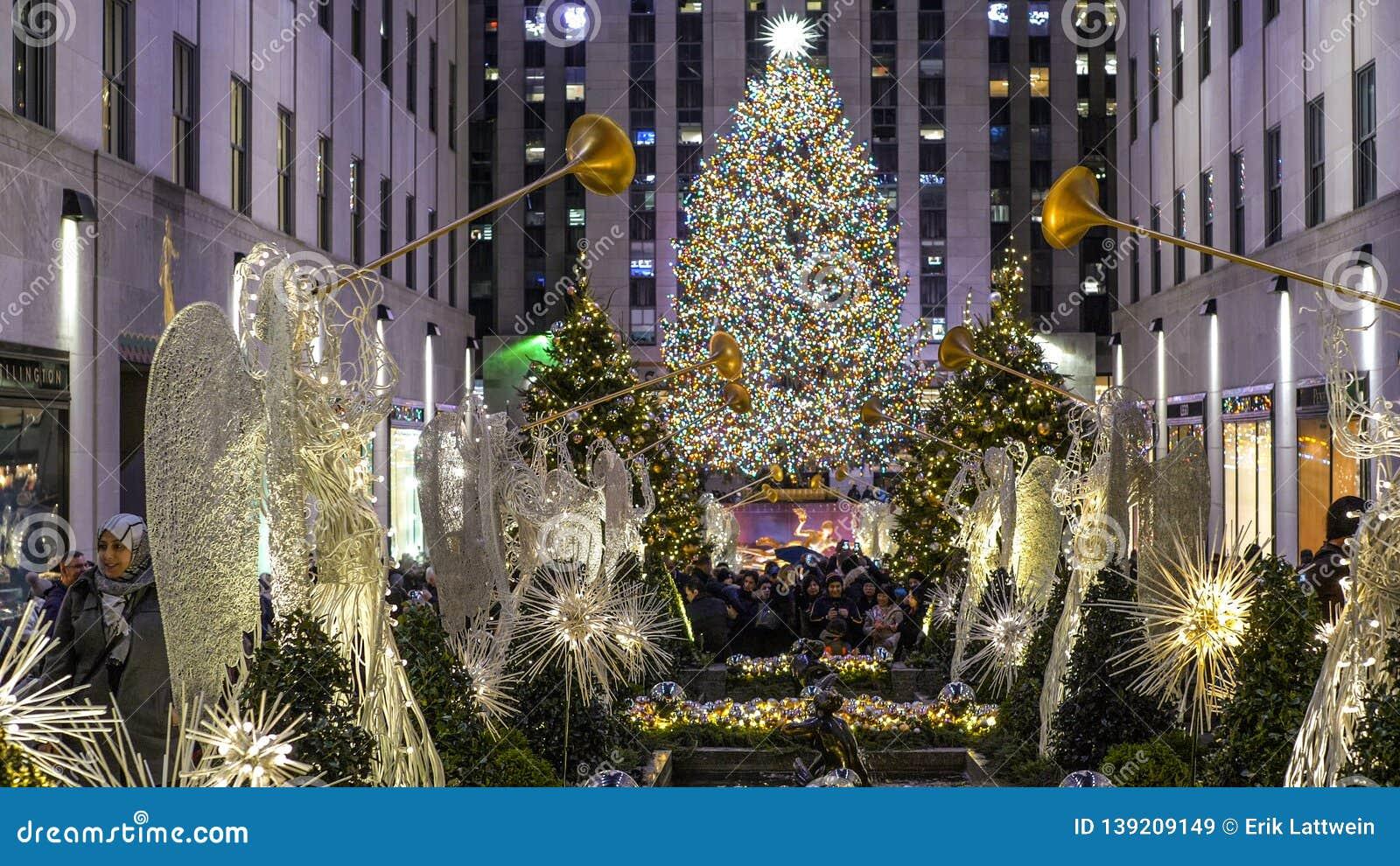 Famous Christmas Tree At Rockefeller Center In Manhattan ...