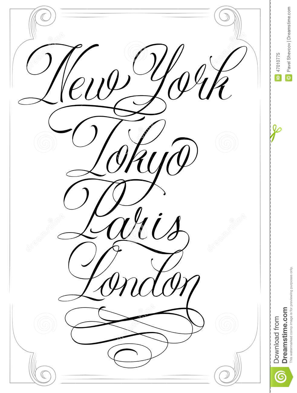 Famous Cities Stock Vector Image Of Border Calligraphy