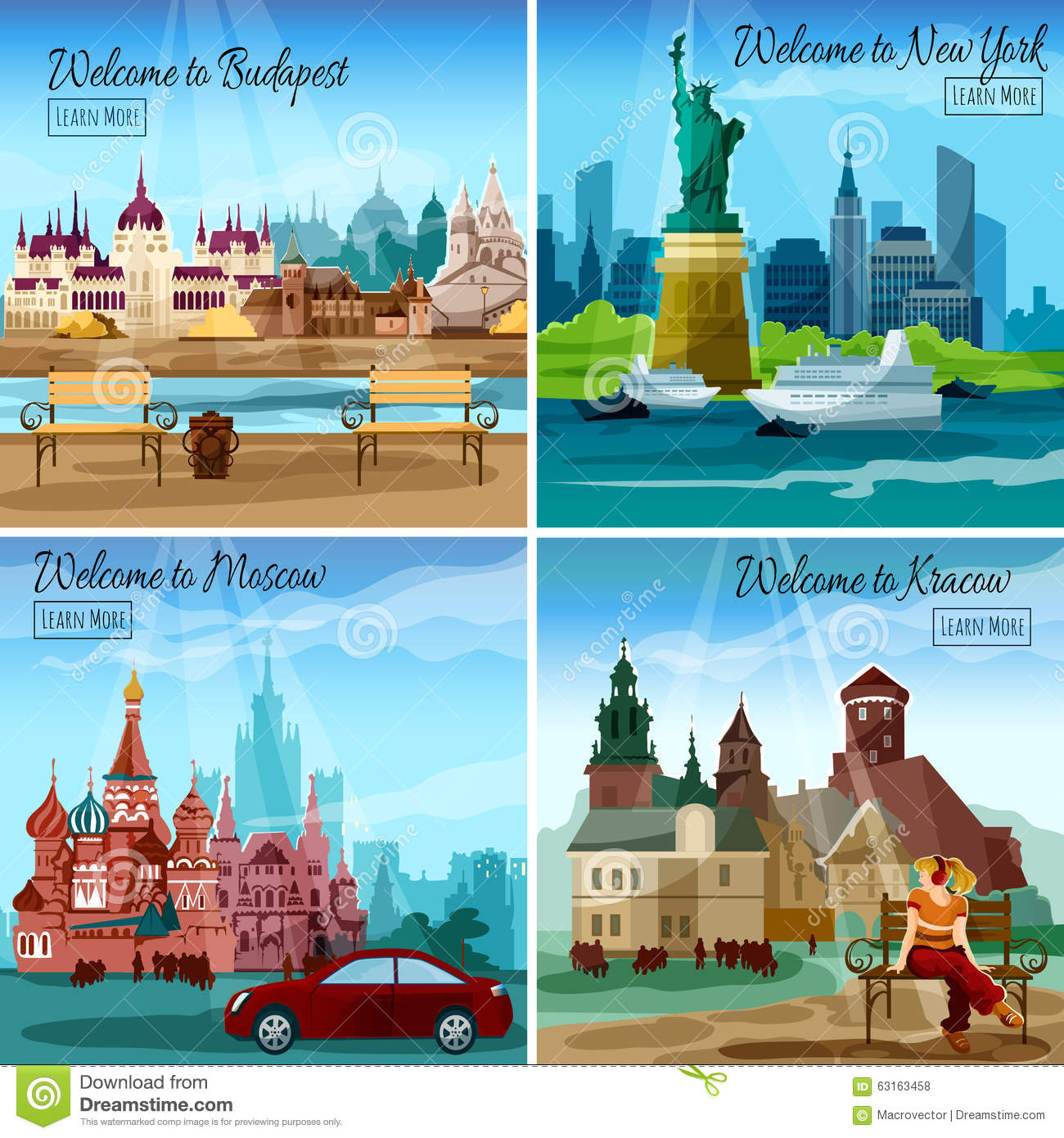 Famous cities set vector illustration for Famous cities in new york