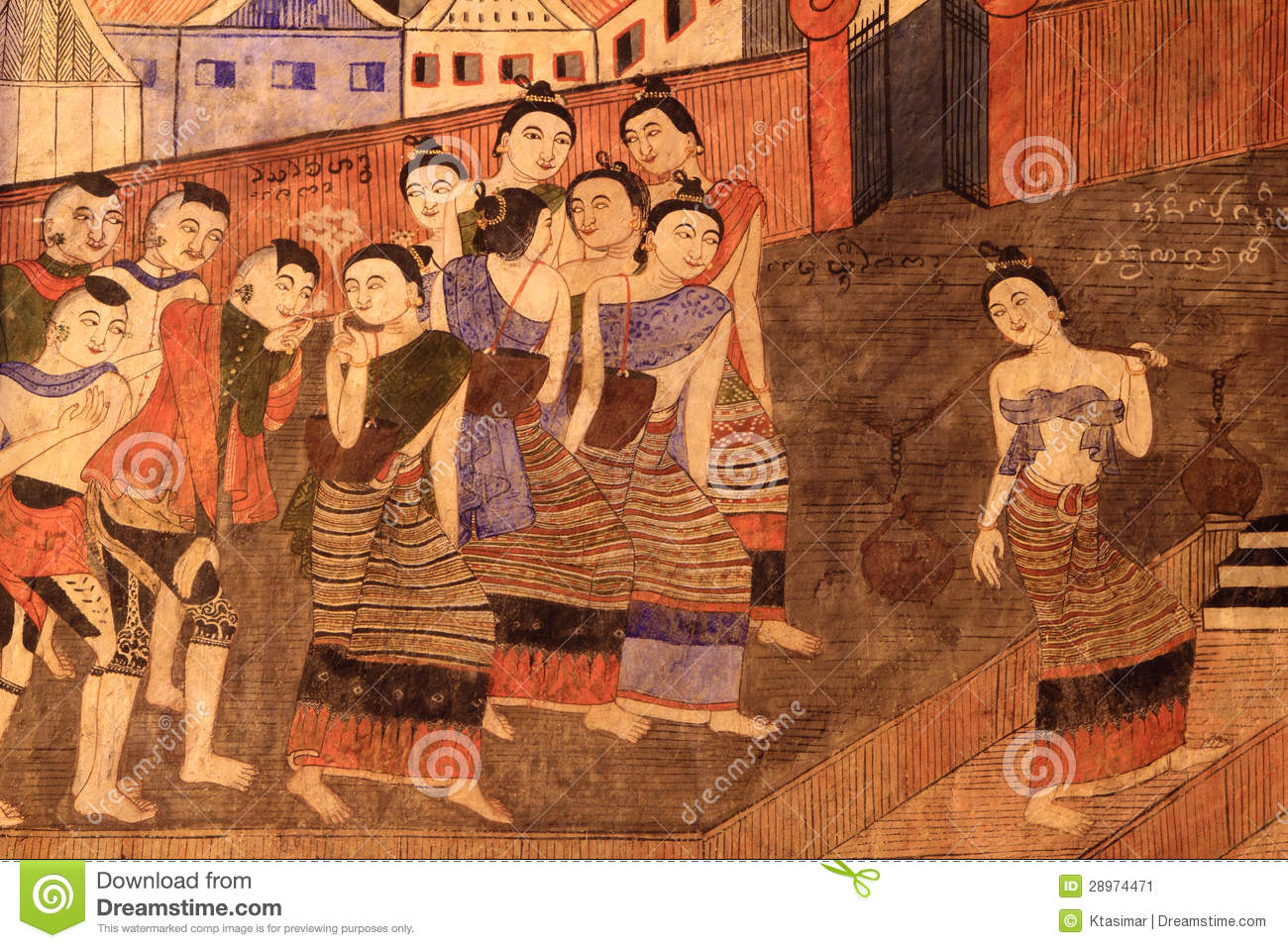 Famous and classical mural painting in nan thailand stock for Classical mural