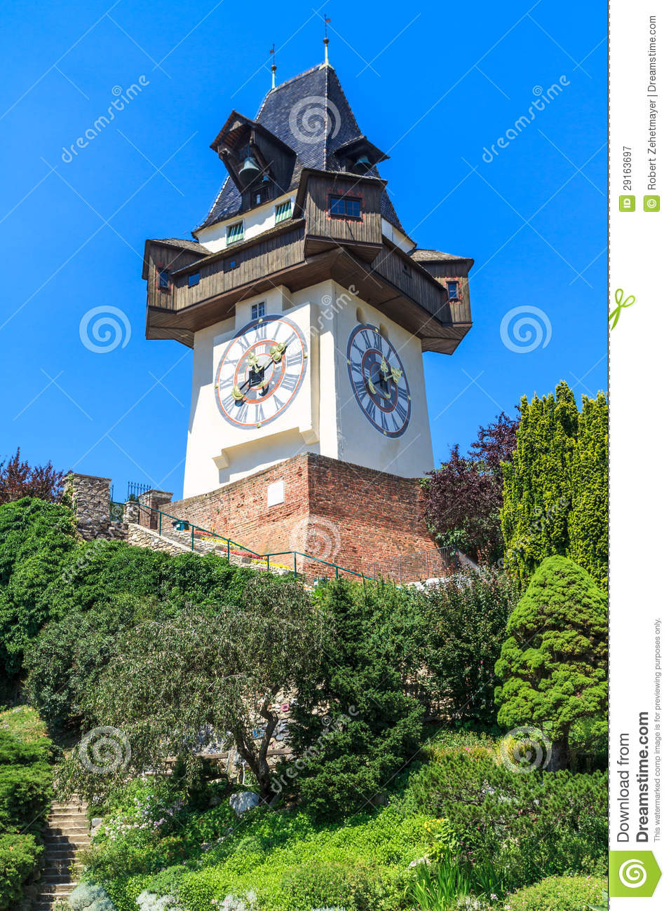 Famous Clock Tower Uhrturm In Graz Austria Royalty Free