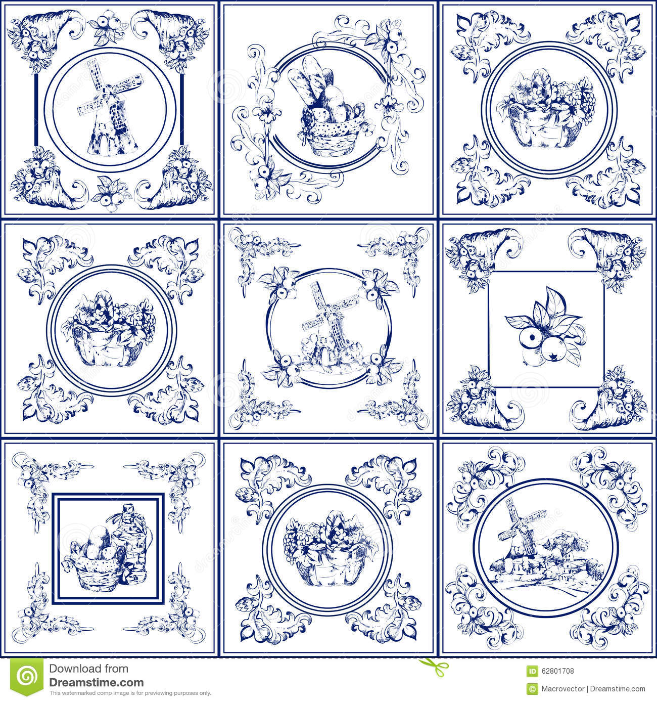 Famous Delft Blue Tiles Icons Collection Stock Vector