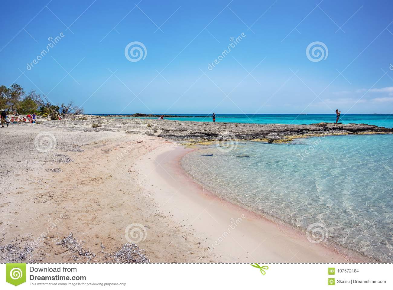 Famous Elafonisi Beach Crete Greece Editorial Stock Image