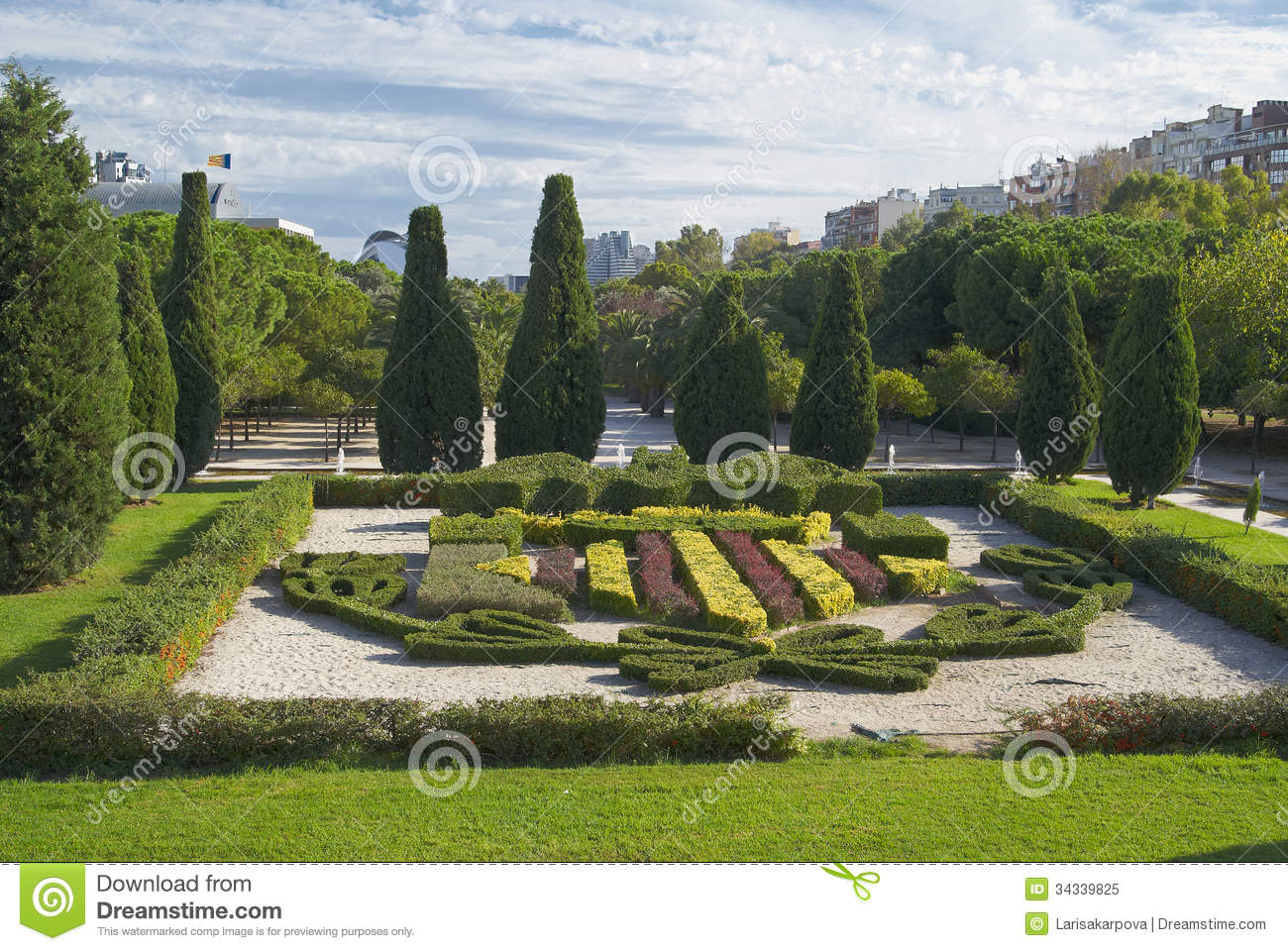 Famous Flower Beds In The Park In Valencia, Spain Stock ...