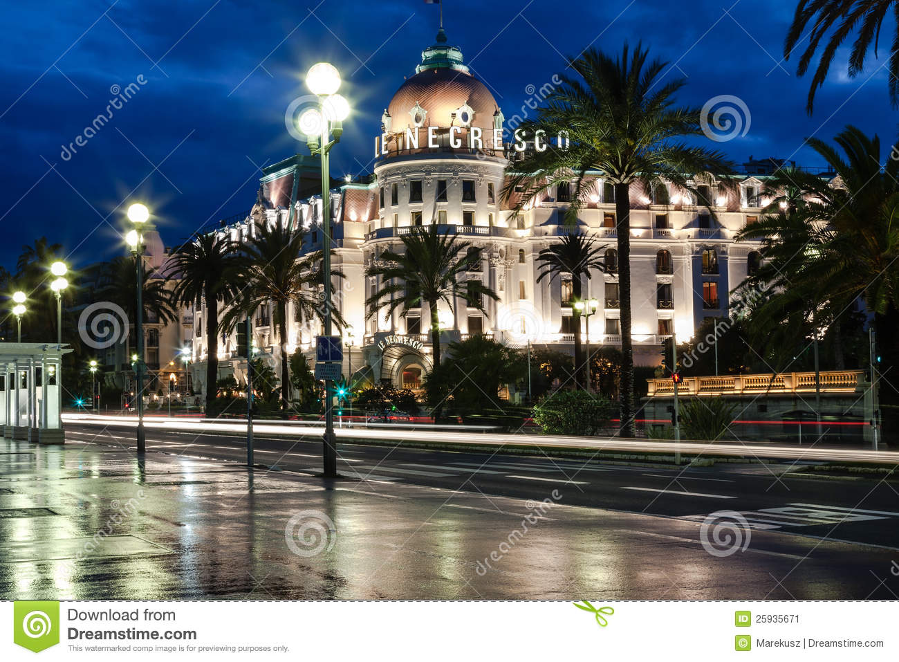 famous hotel negresco in nice france editorial photo. Black Bedroom Furniture Sets. Home Design Ideas